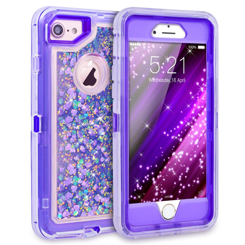 3 In1 Clear Quicksand Phone Iphone 7 6 6S 8 Plus Xs 360 Cover TPU Glitter Bling Transparent Liquid Hard Full Protection
