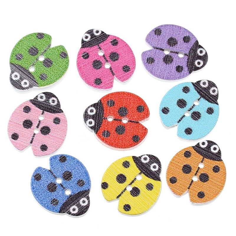 100pcs DIY Wood Button Toys Cartoon Ladybug Color Mixed Two Holes Kids Scrapbooking DIY Craft Toy Handmade Educational Toys