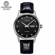 Clásico reloj automático de los hombres militares ochstin genuina correa de cuero relojes de marca de lujo vestido de relojes de pulsera mujer reloj hombre