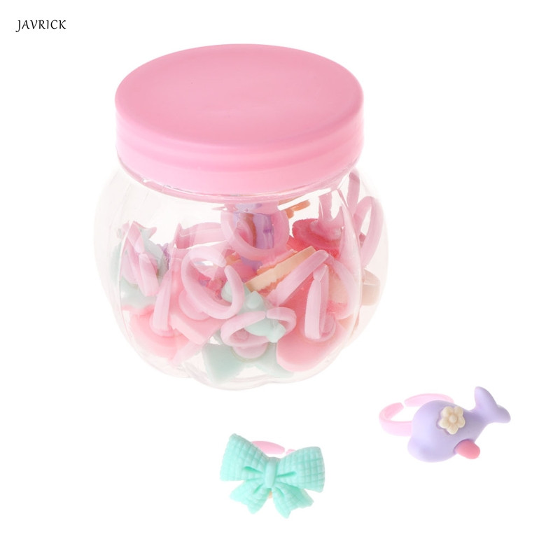 1 Set Children Ring Floral Mixed Kids Girls Jewelry Cute Fashion Cartoon Charms
