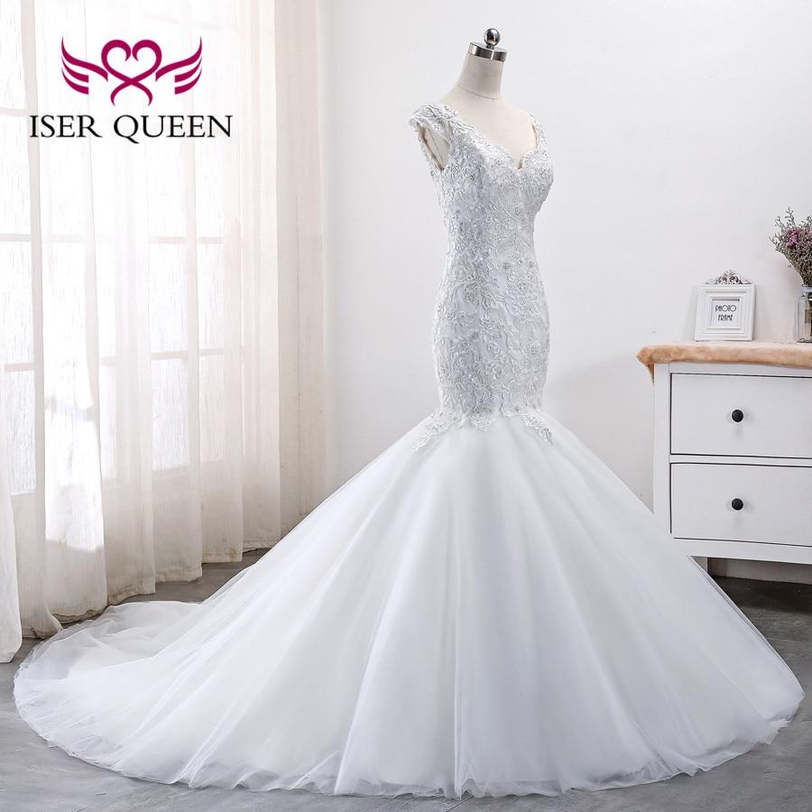 Pure White Lace Beading Mermaid Wedding Dresses Africa New Design Plus Size Wedding Dress 2019 New Wedding Gown WX0004