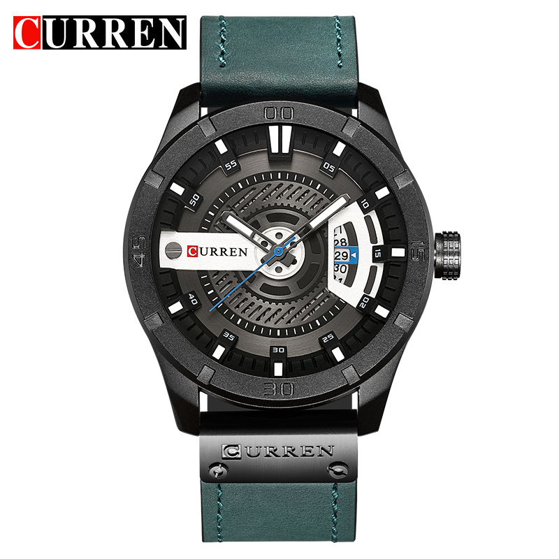 CURREN Date Men Watch New Top Luxury Brand Sport Military Army Business Male Clock Leather Quartz Wrist Mens Watches Gift 8301 curren top brand luxury mens watch men watches male casual quartz wristwatch leather military waterproof clocks sport clock 8225
