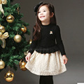 Baby Girls Princess Dress Long Sleeve Black Color Lace Dress for Little Girls Spring Autumn Winter 2 3 4 5 6 7 8 years old