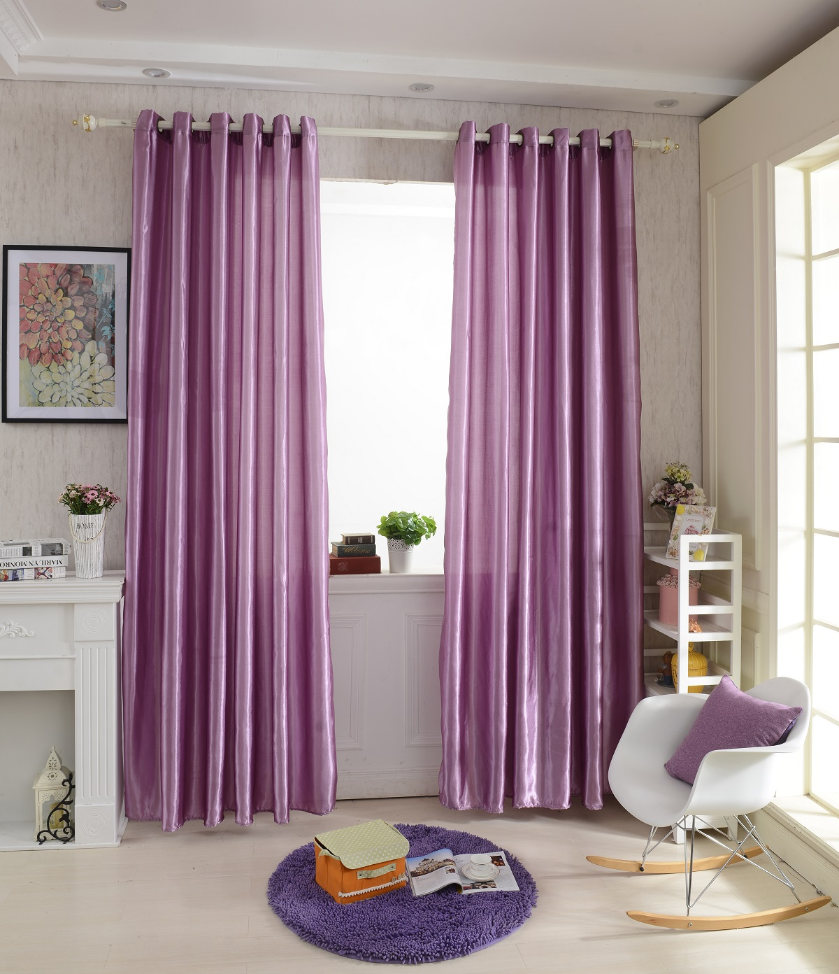 Solid Colors 100 250cm Modern Window Satin Fabric Curtain For Living Room Bedroom Hotel Office