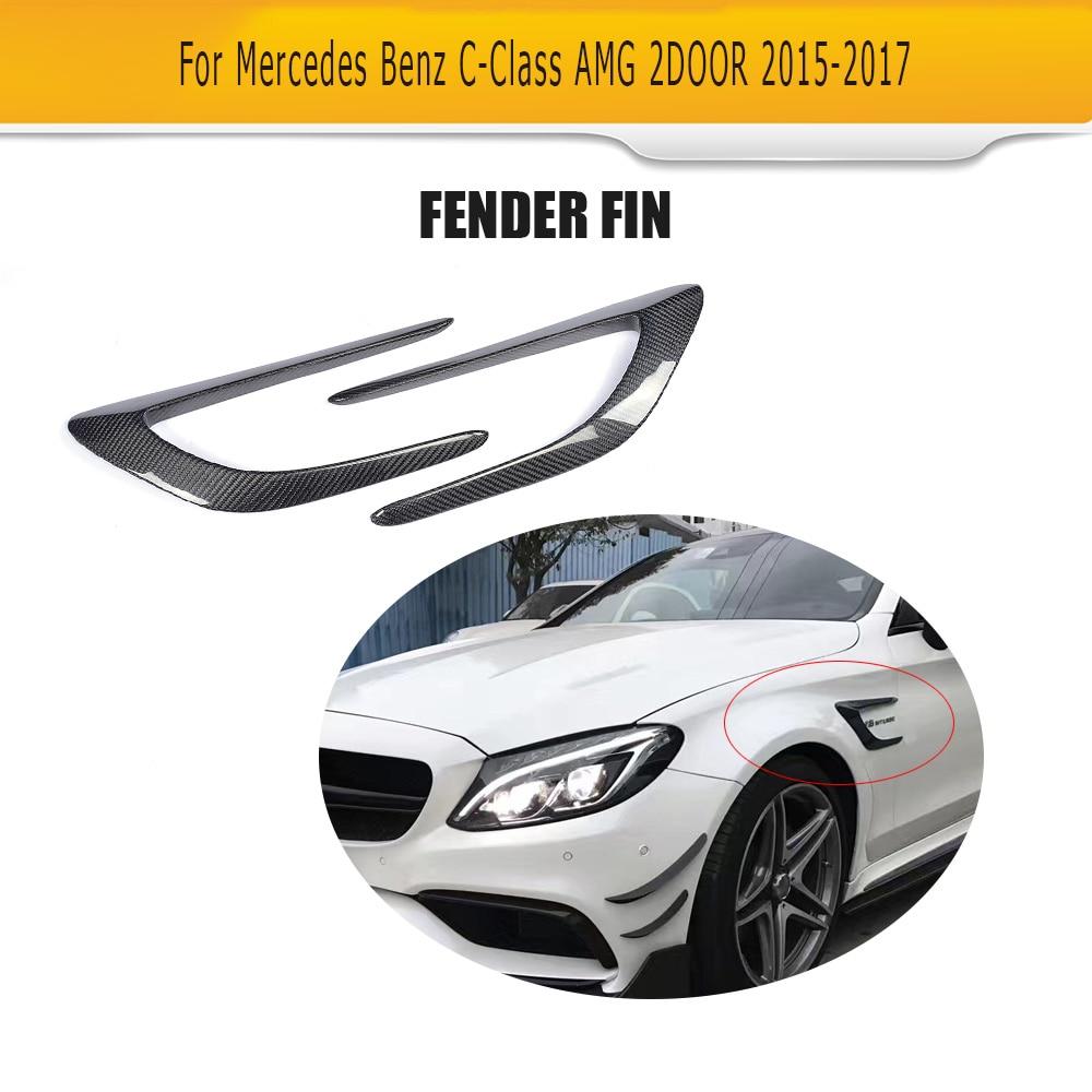C Class Carbon Fiber Front trunk Side Fender Scoops guard for Mercedes Benz W205 C63 AMG 2-Door 2015 -2017 2PCS Car Accessories Mercedes-Benz A-класс