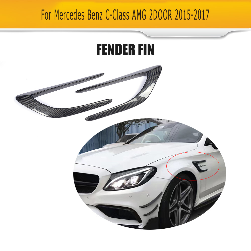 C Class Carbon Fiber Front trunk Side Fender Scoops guard for Mercedes Benz W205 C63 AMG 2-Door 2015 -2017 2PCS Car AccessoriesC Class Carbon Fiber Front trunk Side Fender Scoops guard for Mercedes Benz W205 C63 AMG 2-Door 2015 -2017 2PCS Car Accessories