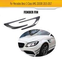 C Class Carbon Fiber Front trunk Side Fender Scoops guard for Mercedes Benz W205 C63 AMG 2 Door 2015 2017 2PCS Car Accessories
