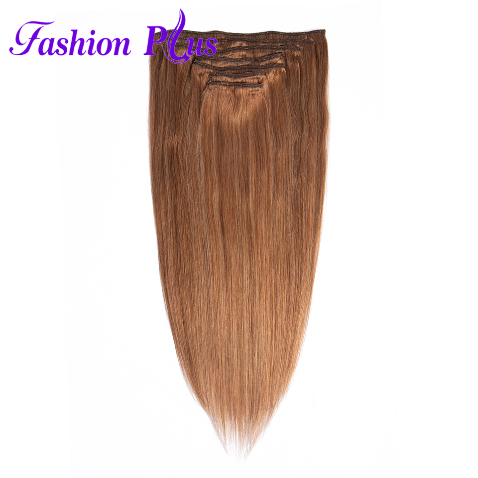 Clip In Human Hair Extensions Brazilian Machine Made Remy Hair 120g Full Head 7PCS Set Brazilian Hair Clip In Hair Extensions