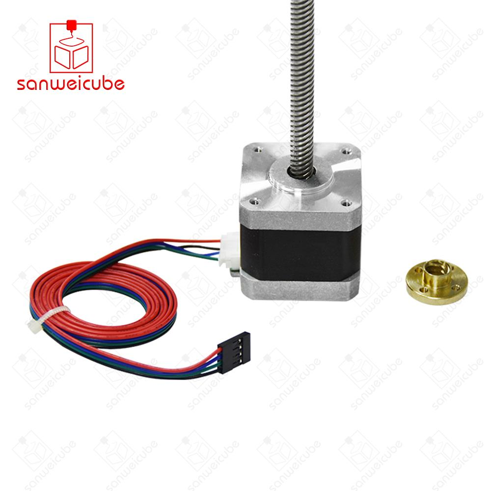 3d Printer motor nema17 stepper motor with T8 screw lead 8mm 300mm 42 motor 42BYGH mill cut cnc engraving machine 17HS4401