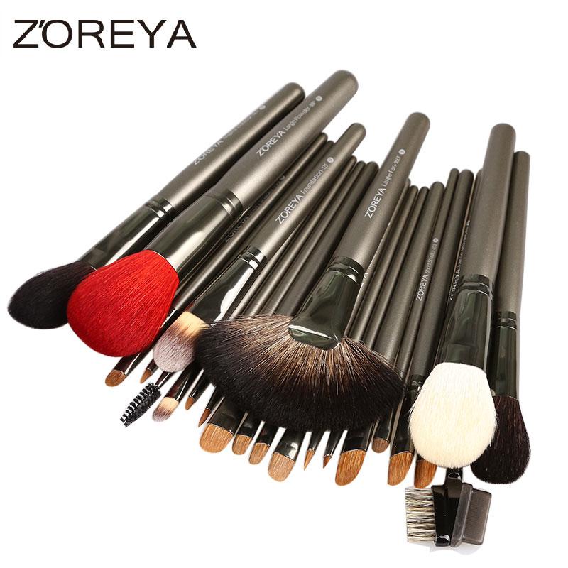 ZOREYA 26pcs Professional Makeup Brushes Set Kolinsky Hair Foundation Blush Eyeshadow Make Up Brush Cosmetic Tool Kits Maquiagem professional bullet style cosmetic make up foundation soft brush golden white