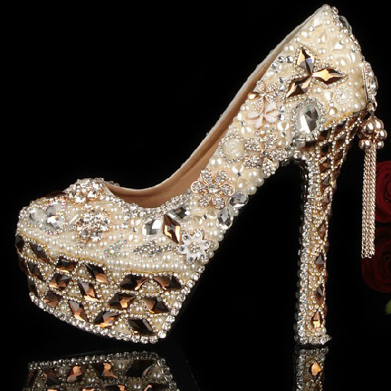 Gorgeous Shoes Luxury Elegant Rhinestone Crystal Wedding Bridal Dress Shoes Jeweled Beaded Women 5 Inch Evening Prom Party Shoes