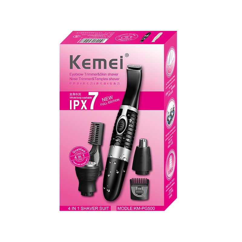 Kemei 3 ב 1 גברים האף שיער הסרת גוזז לחתולים נשים אפילציה גוף גוזם חשמלי מכונה גילוח זקן גילוח KM-PG500