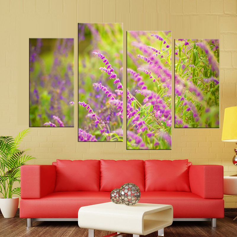 4 panel frame Country flower series still life canvas wall art ...