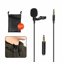 1.5m Mini Portable Microphone Condenser Clip-on Lapel Lavalier Wired Microfo /  for Phone laptop camera