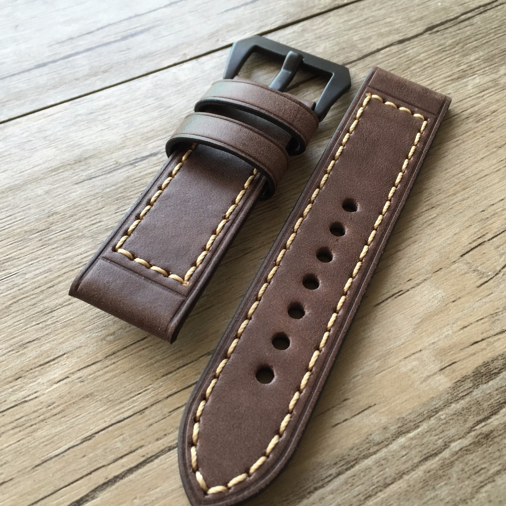 Soft leather strap For Panerai Strap Dark brown 20MM 22MM 24MM Retro Leather Watchbands Version, Classic Men Watchbands handmade leather watchbands version classic men black 24mm 26mm watchbands for panerai strap fast delivery