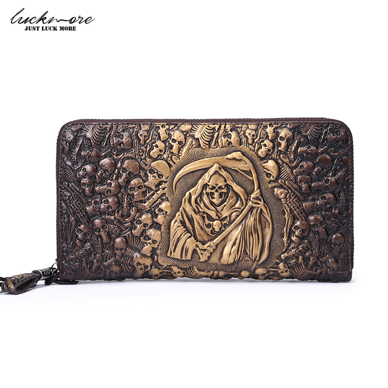 Skull Embossing Genuine Leather Women Wallet Zipper Around Men Wallets with Coin Pocket Card Holders Long