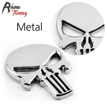 5pcs Skull Skeleton 3D body silver metal  Motorcycle THE Punisher Badge Auto Emblem for TT TTS R8 RS7 S4 S5 S6 S7 S8