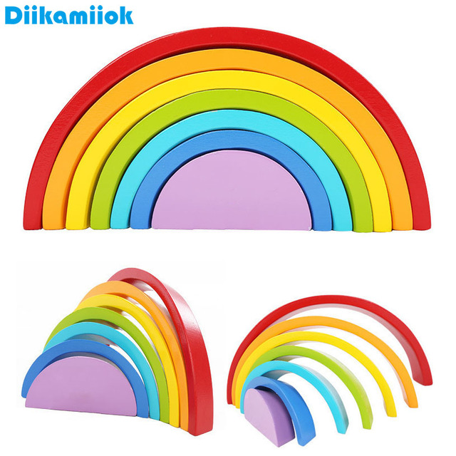 New Colorful Arched Rainbow Building Blocks Wood Toy New Assembling Wooden Blocks Circle Set Educational Toys for Children