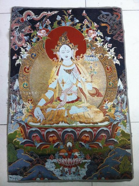 Collection Antique chinoise la broderie Thangka diagramme Tara blanc/1