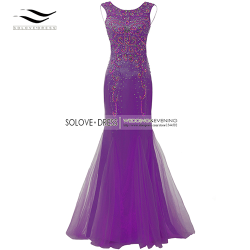 Элегантная ткань Накладка для кнопки рукав Кристалл бисером длинное платье выпускного вечера тюль русалка платье выпускного вечера Longo Vestido de festa(SLP-011 - Цвет: Purple