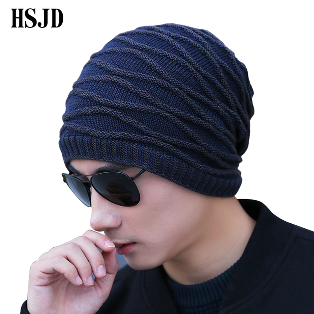 2017 Brand Winter Knit Hats For Men Women Skullies Beanie Plus velvet Men s  Winter Caps Bonnet Outdoor Ski Sports Warm Baggy Cap 8d1dd1ffcf12