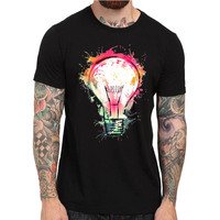 Harajuku T-shirt Geschilderd Bulb Ontwerp T shirt Cool Mode Tops Korte Koker Swag Tyga Hip Hop Merk Tshirts