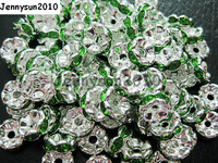 200pcs Lot 8mm Top Quality Czech Peridot Crystal Rhinestone Pave Wavy Rondelle Metal Sliver Plated Spacer