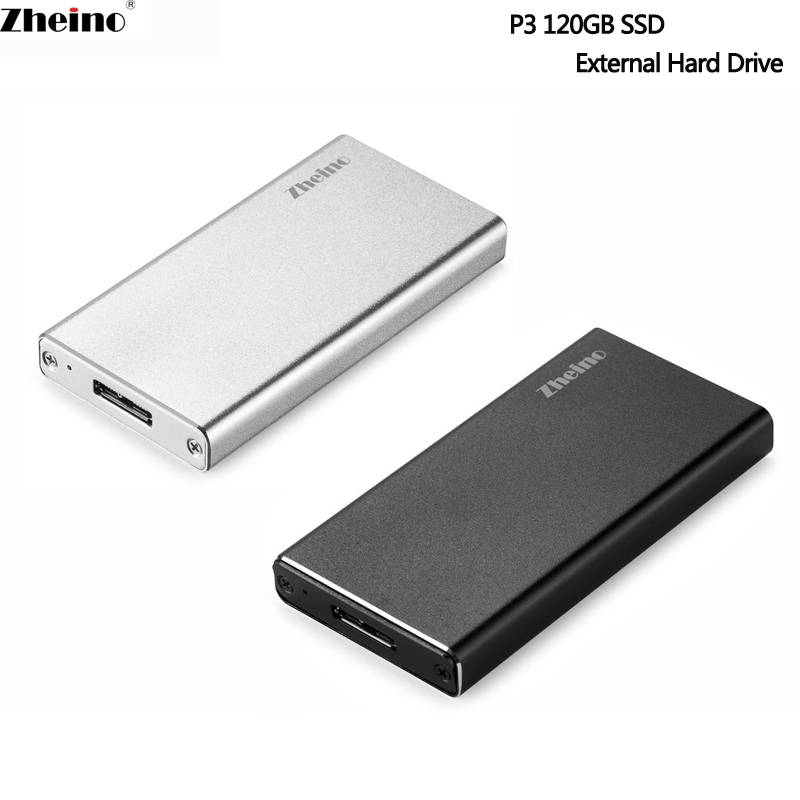 Zheino P3 USB3.0 120GB Portable SSD External Hard Drive Aluminum Case Super Speed with mSATA 120gSolid State Drive for PC Laptop