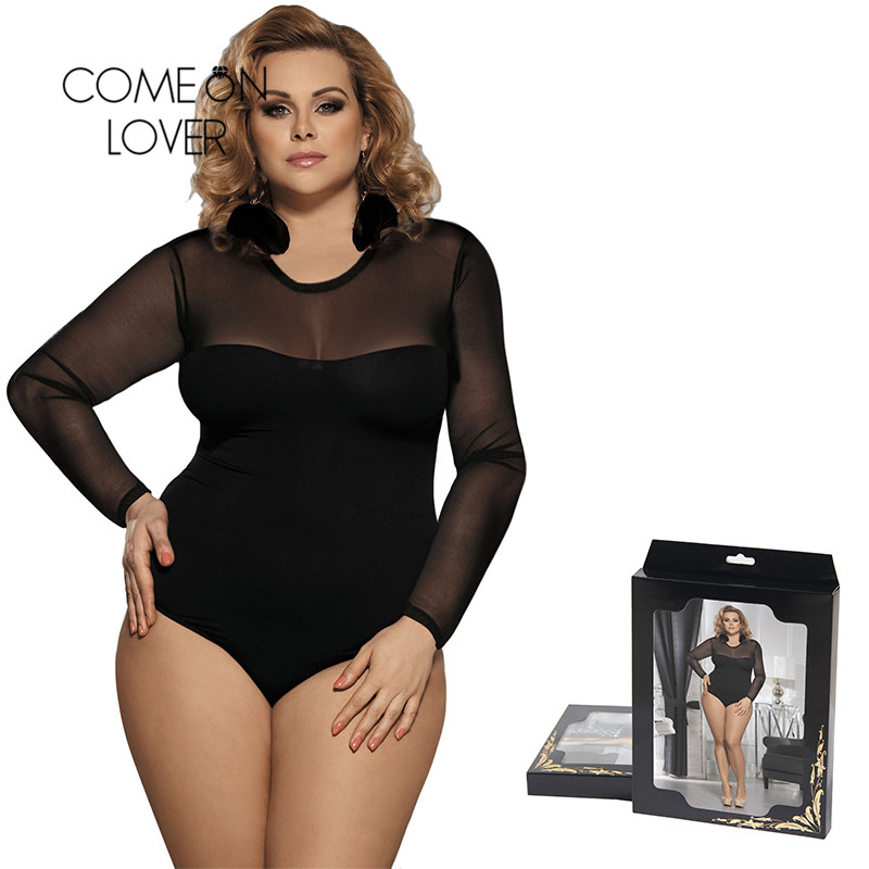 Comeonlover Summer   Jumpsuit   Woman 2018 Top Femme Plus Size 5XL Fashion Summer Romper Playsuit Long Sleeve Bodysuit RI80373