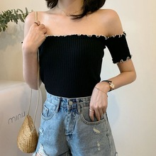 ETOSELL Sexy Slash Neck Women T Shirt Short Sleeve Knitted Ruffles T-Shirt Summer Female T-shirt