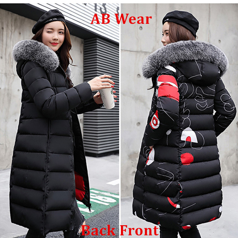 2018 Women Down Coat Fur Collar Hooded Ladies' reversible Cotton Jacket Warm Outwear Wadded Jackets for Pregnant Women цена
