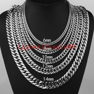 Крепкая кубинская цепочка из нержавеющей стали 6/8/10/12/14/17 мм, браслет/ожерелье серебряного цвета с высокой полировкой 7-40 дюймов