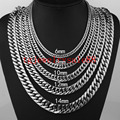 6/8/10/12/14/17mm Wide Strong Men Cuban Curb Link Chain Stainless Steel Bracelet/Necklace High Polishing Silver Tone 7-40inch