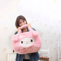 HELLO KITTY hairy Melody hello kitty Mummy bag large capacity shopping bag shoulder bag plush toys soft backpack girlfriend gift