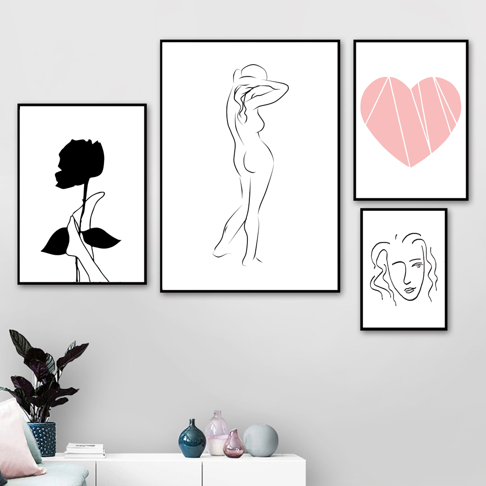 Minimalist Wall Art Canvas Painting Nude Woman Pictures Love Poster Black White Picture Posters Abstract Unframed