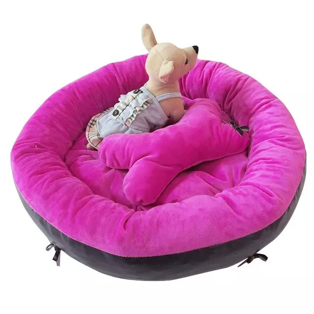 Doux Fuchsia/gris lit pour chien lit pour animaux de compagnie maison de haute qualité coussin d'os gratuit