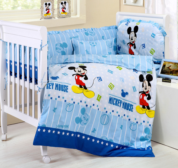Фото Promotion! 6PCS Cartoon baby Crib bedding set Cot Set Baby Quilt Bumper Sheet Dust Ruffle (3bumpers+matress+pillow+duvet). Купить в РФ