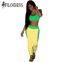 FLODISS Fitness Tracksuits 2017 Summer Brazilian Style Women Yellow And Green Patchwork Sporting Suit