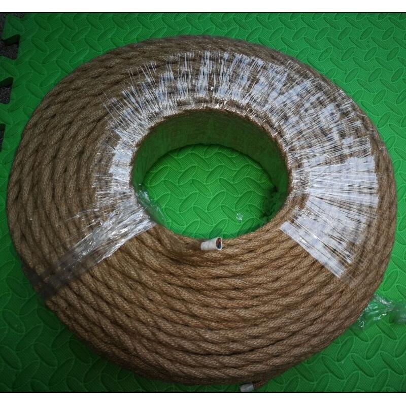 100 m 2 core rétro tressé électrique fil tissu câble bricolage pendentif lampe fil vintage chanvre corde torsadé câble métallique
