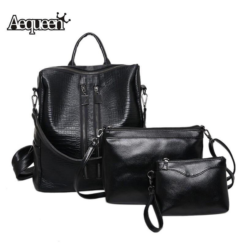 AEQUEEN 3 PCS Set Women Backpacks Pu Leather Rucksack Schoolbag for College Students Shoulder Bag Girl