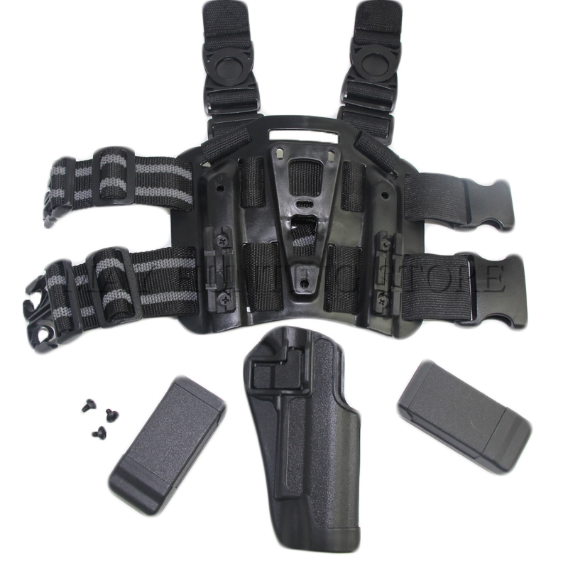 Gun Holster COLT 1911 With 2 Magazine Pouch CQC Tactical Thigh Leg Drop Ploymer Holster image