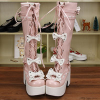 Lolita Russian Girls Boots Pink Shoes Bowknot Winter High Heels Lace Up Patent Leather Boots Women Steampunk Platform Boots Cute