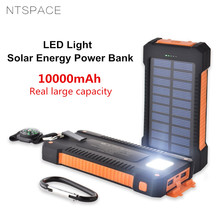 NTSPACE Solar Power Bank Waterproof 10000mAh Solar Battery Dual USB Charger External Powerbank Charger With Compass LED Light waterproof solar power bank real 20000 mah dual usb external polymer battery charger outdoor light lamp powerbank universal