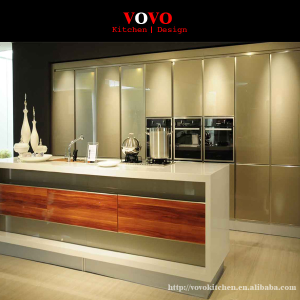 Custom Kitchen Cabinets Cost: High Gloss Luxury Custom Lacquer Kitchen Cabinet-in