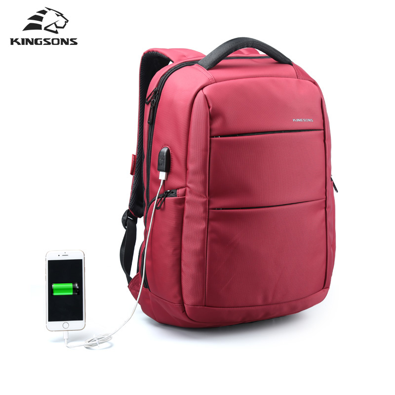 Kingsons External Charging USB Function Laptop Backpack Anti-theft Man Business Dayback Women Travel Bag 15.6 inch Red, black spe pem usb charging h4high rich hydrogen water bottle lonizer w selfcleaning function electrolytic distilled mineral pure wate