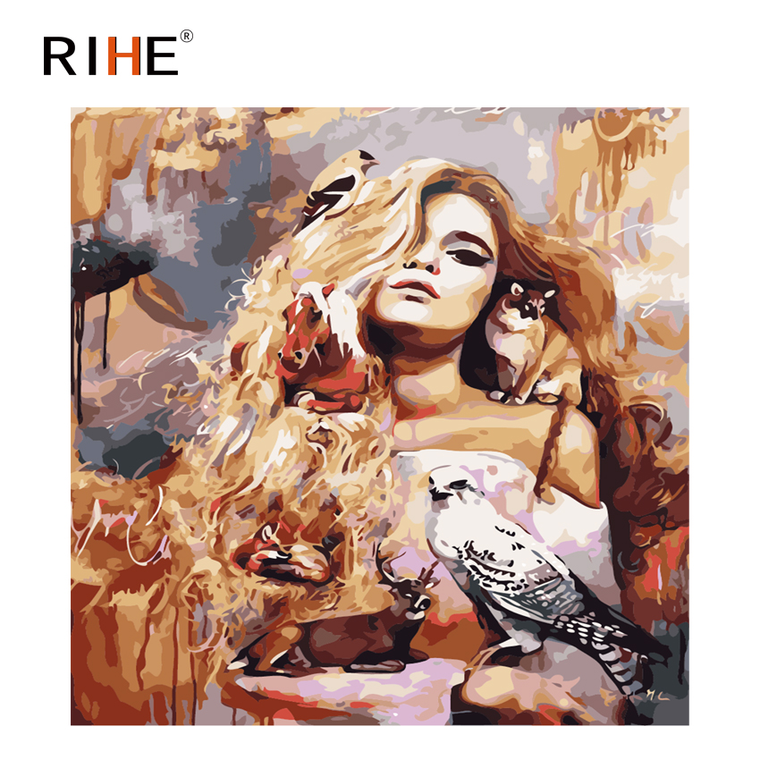 RIHE Charming Girl Diy Oil Painting By Numbers Animal Cuadros Decor Dreamy Acrylic Paint On Canvas For Artwork Modern Home Decor in Painting Calligraphy from Home Garden
