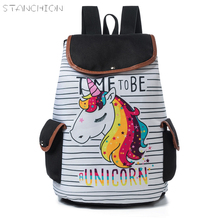 STANCHION Cartoon Rucksack Canvas Backpack Lady Unicorn Printed School For Teenager Drawstring Female Travel