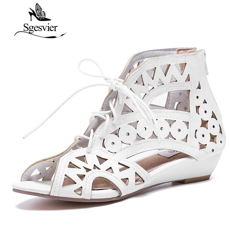 SGESVIER Big Size 31-43 Fashion Cutouts Lace Up Women Sandals Open Toe Low Wedges Bohemian Summer Shoes Beach Shoes Women AA516 sgesvier fashion women sandals open toe all match sandals women summer casual buckle strap wedges heels shoes size 34 43 lp009