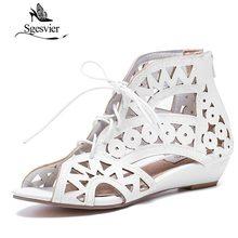 SGESVIER Big Size 31 43 Fashion Cutouts Lace Up Women Sandals Open Toe Low Wedges Bohemian