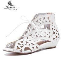 ENMAYER Big Size 34 43 Fashion Cutouts Lace Up Women Sandals Open Toe Low Wedges Bohemian